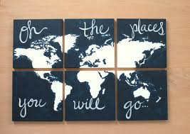 World Map Canvas World Map Canvas Oh The Places You Will Go 6 12x12 U0027s
