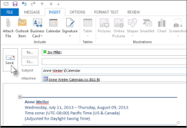 change calendar layout outlook 2013 send an outlook calendar in an email message outlook