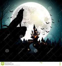 halloween background with the wolf on full moon stock vector