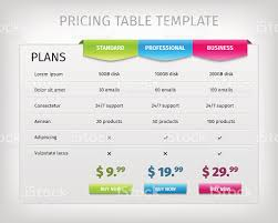colorful web pricing table template for business plan stock vector
