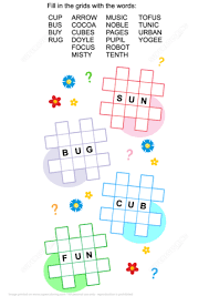 criss cross word puzzle letter u in the middle free printable