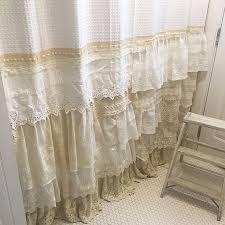 Lace Fabric For Curtains Shabby Chic Shower Curtain White Ivory Lace Ruffle Girls Bohemian