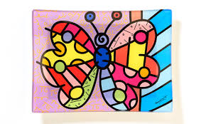 romero britto britto rectangular glass plate butterfly artreco