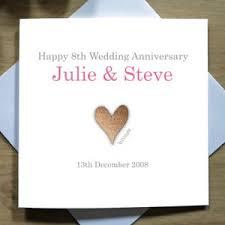 8th wedding anniversary personalised handmade 8th wedding anniversary card bronze eighth