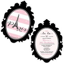 paris ooh la la shaped paris themed birthday party invitations