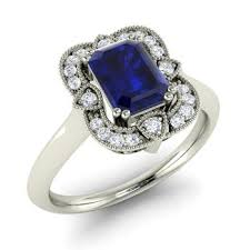 sapphire engagement rings cosette engagement ring with emerald cut sapphire si