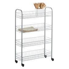 Container Store Shelves by Rolling Cart Silver 4 Tier Slim Rolling Cart The Container Store