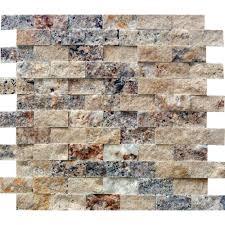 Blue Brown Backsplash Tile Splashback Tile Mother Of Pearl Mini Brick Pattern 11 1 4 In X 12 1
