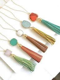 tassel necklace images Tassel necklace leather tassel necklace turquoise orange jpg