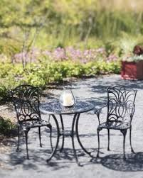 Outdoor Bistro Table Set Mainstays 3 Piece Small Space Scroll Outdoor Bistro Set Red