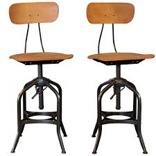 pair bar stools bent plywood vintage industrial toledo