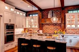 brick kitchen backsplash kitchen room contemporary kitchen cabinet wooden