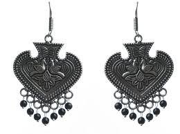 dangler earring german silver circular dangler earring in black