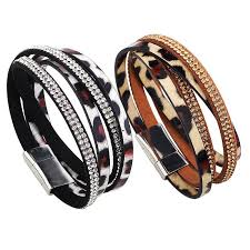 leather rhinestone bracelet images Leopard print rhinestone pu leather multilayer bracelet bengal cats jpg