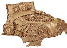 Ruffled Comforter 6 Piece Caramel Latte Ruffle Comforter Quilt Set Victorian