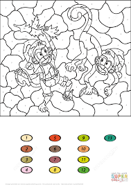 two monkeys color by number free printable coloring pages