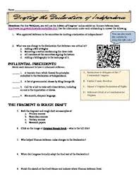 Declaration Of Independence Worksheet Answers Declaration Of Independence Webquest And Qr Code Activity Tpt