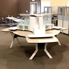 Kimball Office Desk Kimball Office Furniture 3 Person Workstation Morris Habitat For