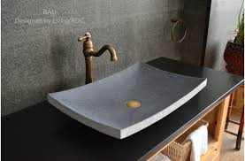 black stone bathroom sink gray basalt stone bathroom sink concrete look tahiti moon in vessel