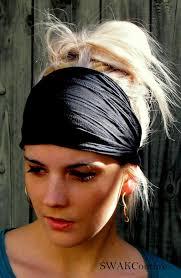 workout headbands black textured wide headband stretchy textured cotton