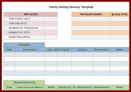 vacation itinerary template free calendar picture