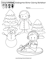 winter coloring worksheet free kindergarten seasonal worksheet