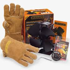 stove top fan heat powered thermometer gloves log wood burner