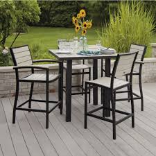 Outdoor Patio Dining Chairs Polywood Outdoor Dining Set Carmel 5pc Black Poly Wood Outdoor