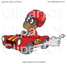 clipart of a cartoon african american race car driver boy