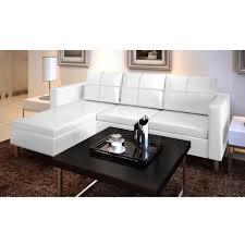 canape cuir modulable canapé d angle 3 places modulable en cuir artificiel blanc achat
