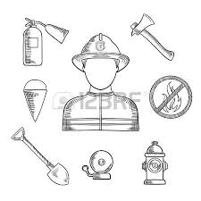 firefighter profession sketch icons with man in protective helmet