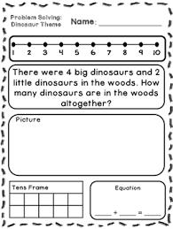 dinosaur theme addition u0026 subtraction word problems kindergarten