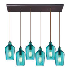 Modern Pendant Light by Elk 10331 6rc Haq Hammered Glass Modern Oil Rubbed Bronze Multi