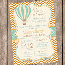 vintage air balloon baby shower invitation up up and