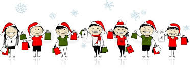 christmas shopping with friends girls with bags for your design