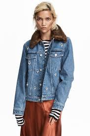 embellished denim jacket light denim blue ladies h u0026m gb
