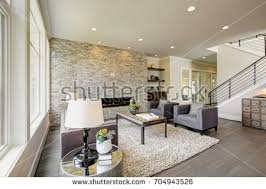 Modern Great Room - perfect family living room cozy carpet stock photo 294674756
