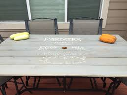 Patio Table Top Replaced Broken Glass Patio Tabletop With Farmers Market Sign