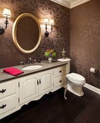 Wallpaper In Bathroom Ideas by Bathroom Textured Wallpaper In Brown Theme Powder Room