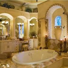tuscan bathroom design with chandelier and wall stone and brick