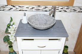 Stone Basin Vanity Unit Bathroom Vanity Unit Off White Cream Painted Grey Quartz