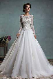 Princess Wedding Dresses A Line Bateau Neck Long Sleeve Lace Tulle Wedding Dress