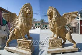 marble lions for sale big roaring winged lion statues in pairs for front porch marble