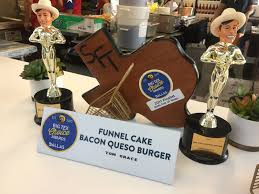 state fair food funnel cake bacon queso burger