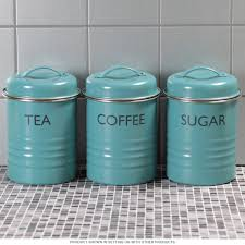 Labels For Kitchen Canisters Tea Coffee Sugar Canister Set Blue Vintage Style Kitchen Jars