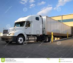 semi truck semi truck tractor trailer at loading dock stock photos image