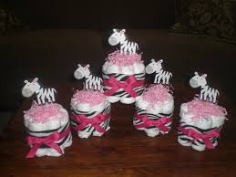 zebra and pink mini and bundt diaper cakes and bootie