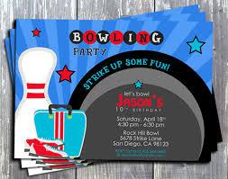 ek design gallary bowling party birthday invitation