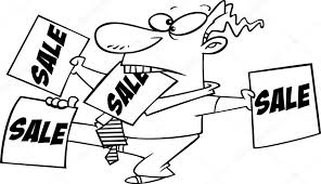 vector of a cartoon salesman trying to sell tools coloring page