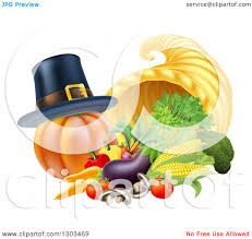 thanksgiving emoticon clipart of a pilgrim hat on a pumpkin by a thanksgiving horn of